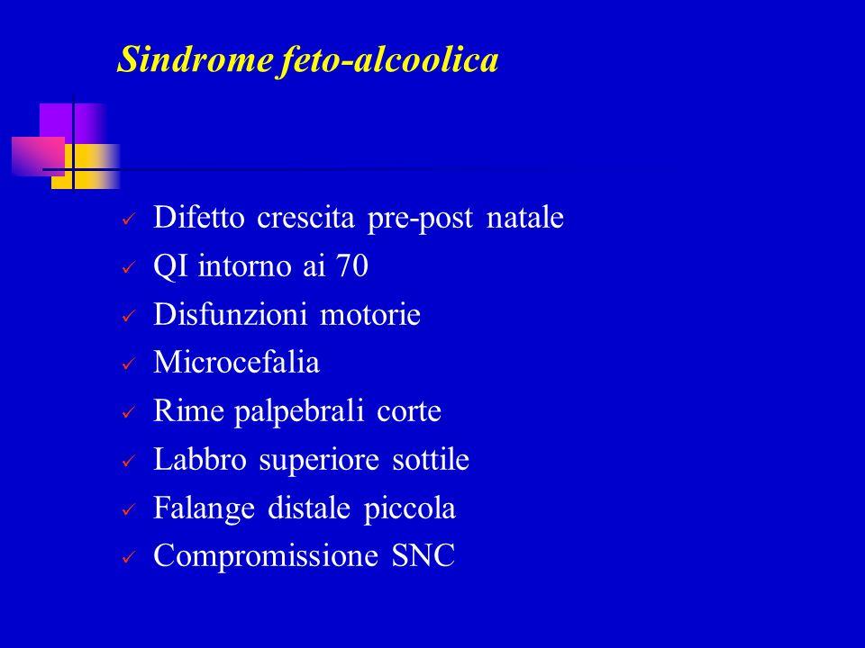 Sindrome feto-alcoolica Difetto crescita pre-post natale QI intorno ai 70 Disfunzioni motorie Microcefalia Rime palpebrali corte Labbro superiore sott