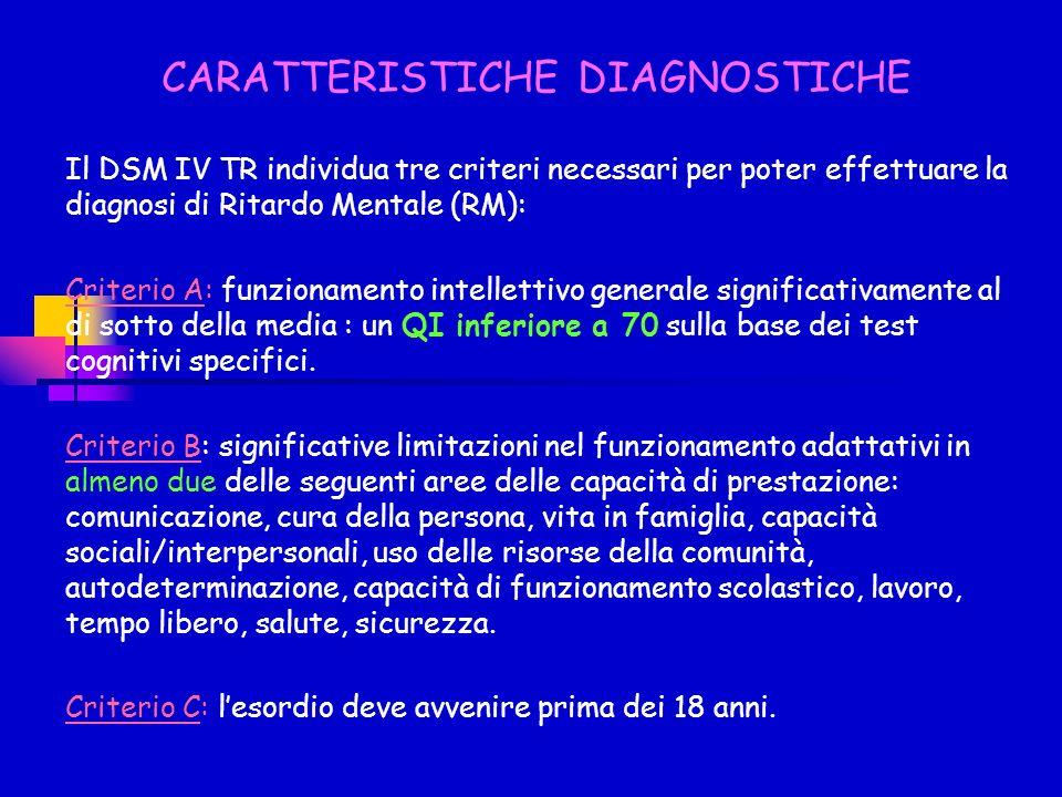 CARATTERISTICHE DIAGNOSTICHE Il DSM IV TR individua tre criteri necessari per poter effettuare la diagnosi di Ritardo Mentale (RM): Criterio A: funzio