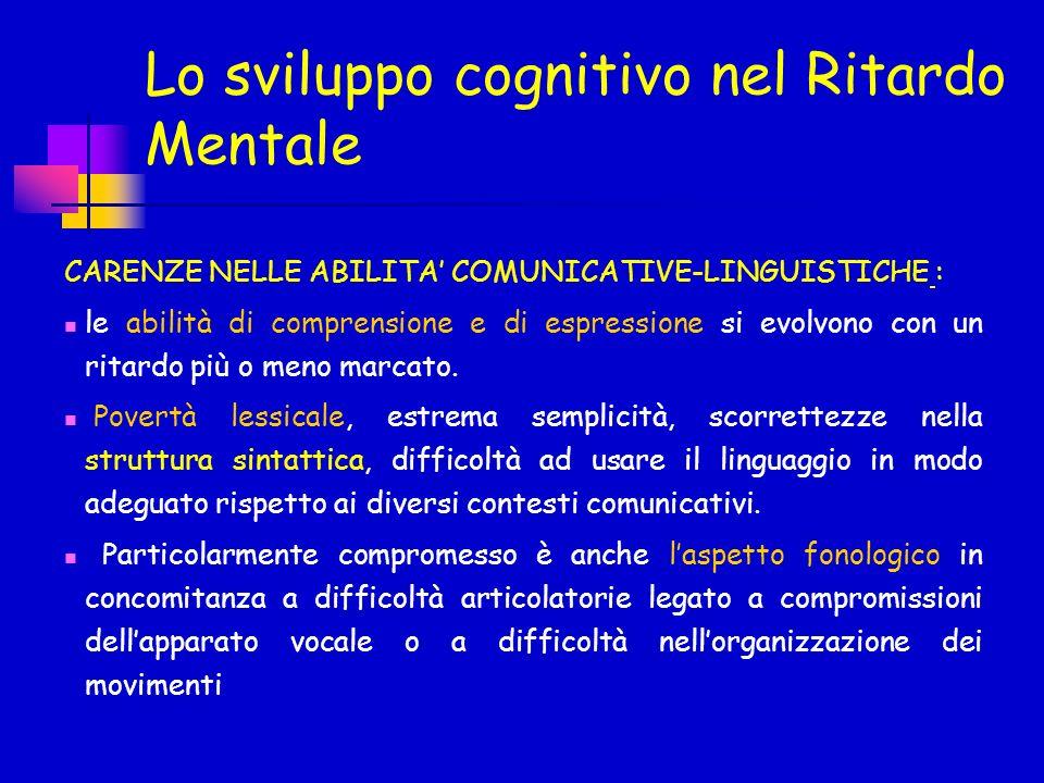 CARENZE NELLE ABILITA COMUNICATIVE-LINGUISTICHE : le abilità di comprensione e di espressione si evolvono con un ritardo più o meno marcato. Povertà l