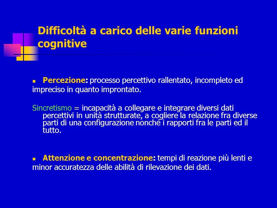 Difficoltà a carico delle varie funzioni cognitive Percezione: processo percettivo rallentato, incompleto ed impreciso in quanto improntato. Sincretis