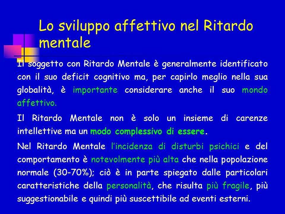 Lo sviluppo affettivo nel Ritardo mentale Il soggetto con Ritardo Mentale è generalmente identificato con il suo deficit cognitivo ma, per capirlo meg