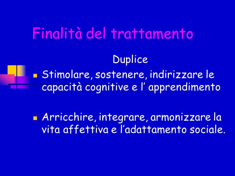 Finalità del trattamento Duplice Stimolare, sostenere, indirizzare le capacità cognitive e l apprendimento Arricchire, integrare, armonizzare la vita