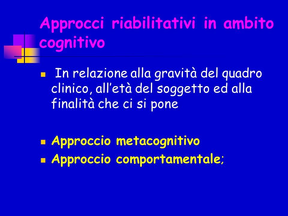 Approcci riabilitativi in ambito cognitivo In relazione alla gravità del quadro clinico, alletà del soggetto ed alla finalità che ci si pone Approccio