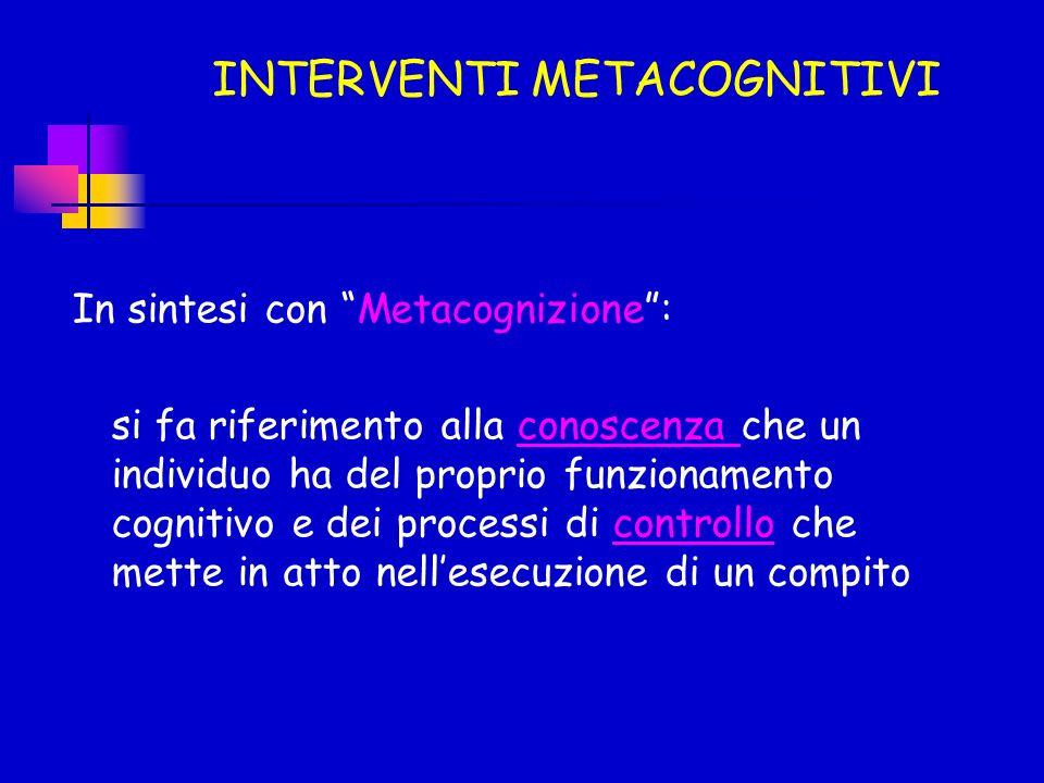In sintesi con Metacognizione: si fa riferimento alla conoscenza che un individuo ha del proprio funzionamento cognitivo e dei processi di controllo c