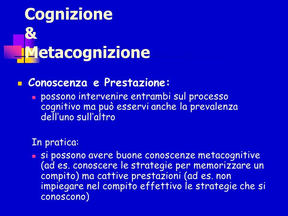 Cognizione & Metacognizione Conoscenza e Prestazione: possono intervenire entrambi sul processo cognitivo ma può esservi anche la prevalenza delluno s