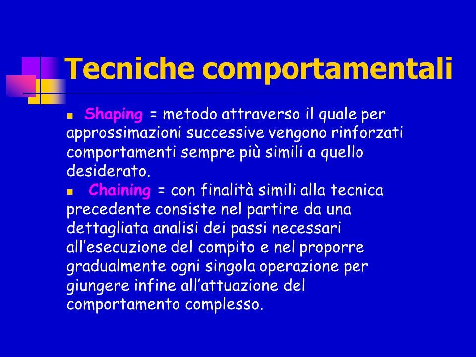 Tecniche comportamentali Shaping = metodo attraverso il quale per approssimazioni successive vengono rinforzati comportamenti sempre più simili a quel