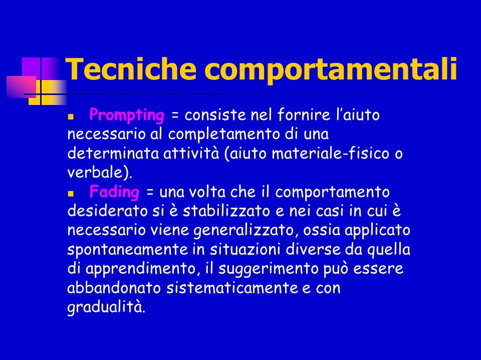 Tecniche comportamentali Prompting = consiste nel fornire laiuto necessario al completamento di una determinata attività (aiuto materiale-fisico o ver