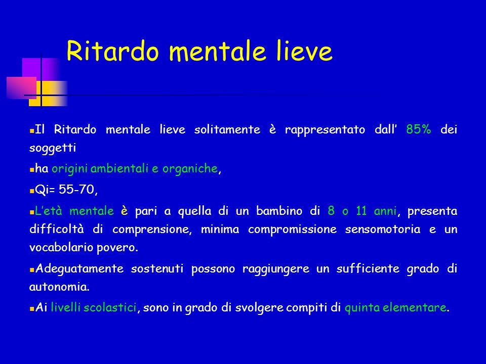 Ritardo mentale lieve Il Ritardo mentale lieve solitamente è rappresentato dall 85% dei soggetti ha origini ambientali e organiche, Qi= 55-70, Letà me