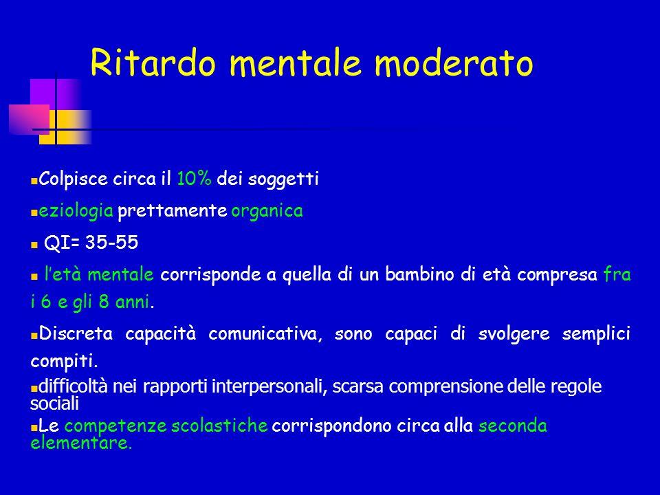 Ritardo mentale moderato Colpisce circa il 10% dei soggetti eziologia prettamente organica QI= 35-55 letà mentale corrisponde a quella di un bambino d