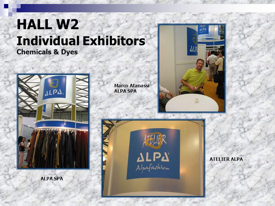 HALL W2 Individual Exhibitors Chemicals & Dyes Marco Atanassi ALPA SPA ATELIER ALPA ALPA SPA