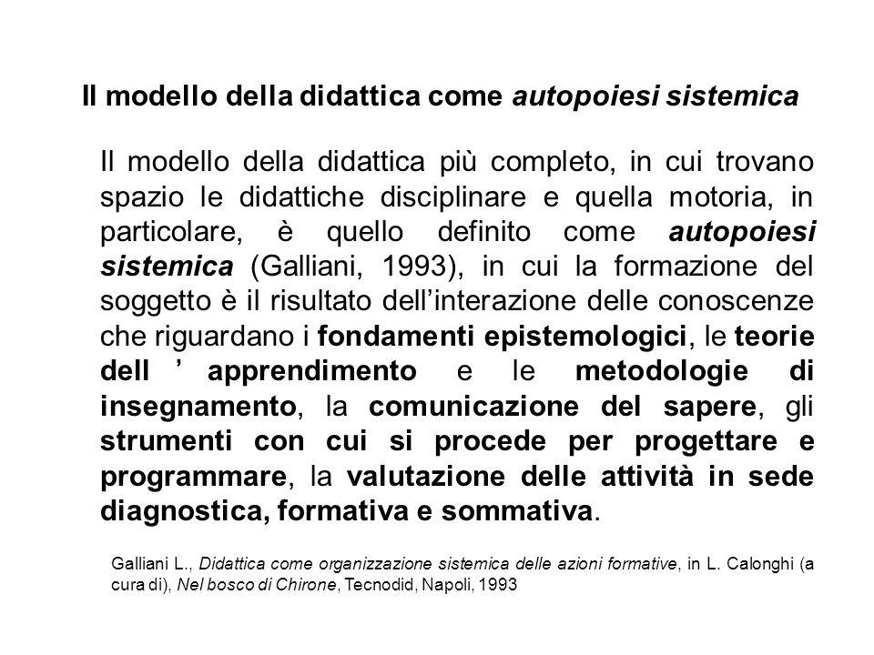 Il modello della didattica più completo, in cui trovano spazio le didattiche disciplinare e quella motoria, in particolare, è quello definito come aut