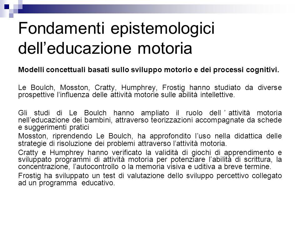 Fondamenti epistemologici delleducazione motoria Modelli concettuali basati sullo sviluppo motorio e dei processi cognitivi. Le Boulch, Mosston, Cratt