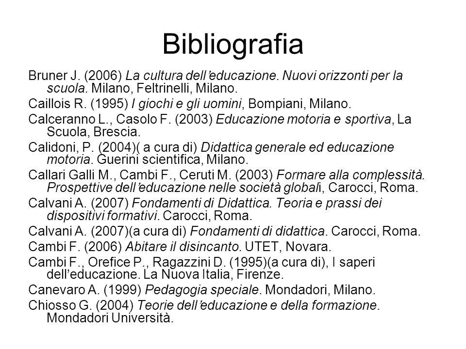Bibliografia Bruner J. (2006) La cultura delleducazione. Nuovi orizzonti per la scuola. Milano, Feltrinelli, Milano. Caillois R. (1995) I giochi e gli