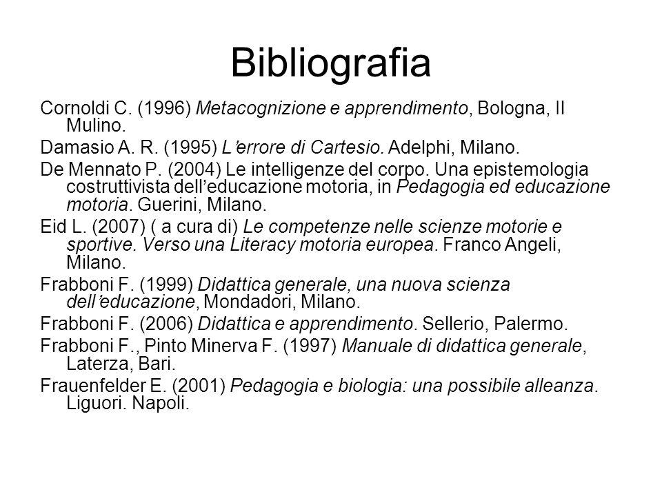 Bibliografia Cornoldi C. (1996) Metacognizione e apprendimento, Bologna, Il Mulino. Damasio A. R. (1995) Lerrore di Cartesio. Adelphi, Milano. De Menn