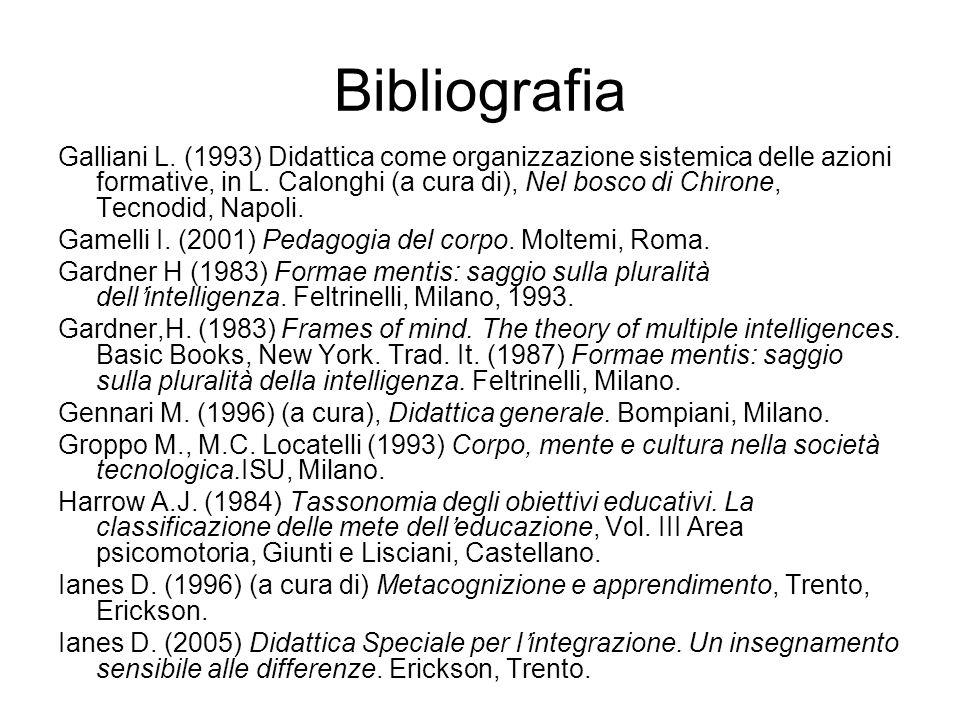 Bibliografia Galliani L. (1993) Didattica come organizzazione sistemica delle azioni formative, in L. Calonghi (a cura di), Nel bosco di Chirone, Tecn