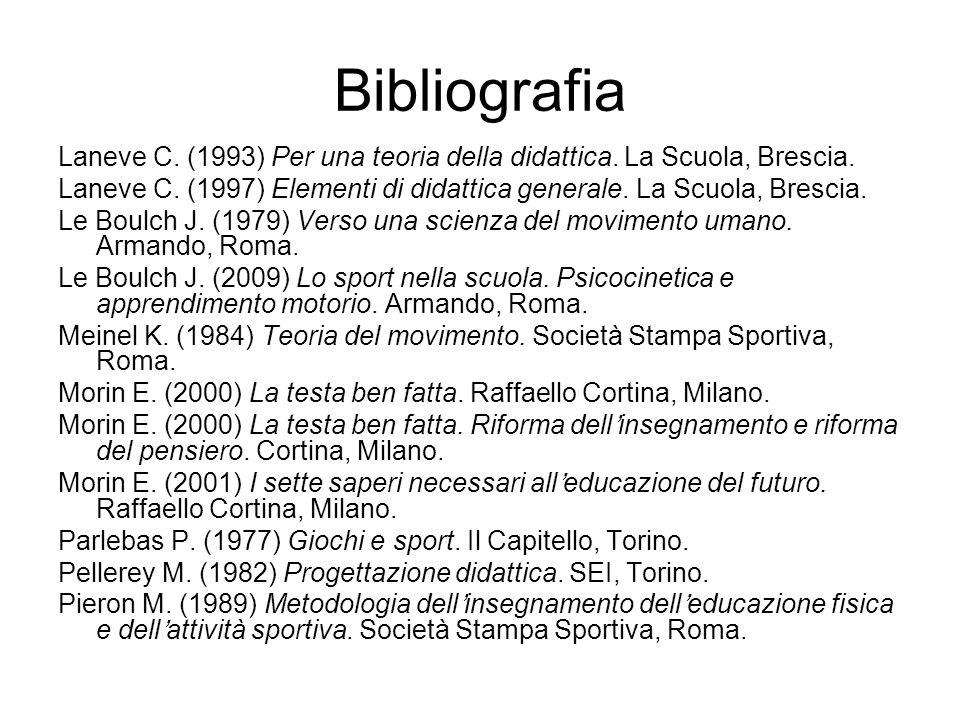 Bibliografia Laneve C. (1993) Per una teoria della didattica. La Scuola, Brescia. Laneve C. (1997) Elementi di didattica generale. La Scuola, Brescia.