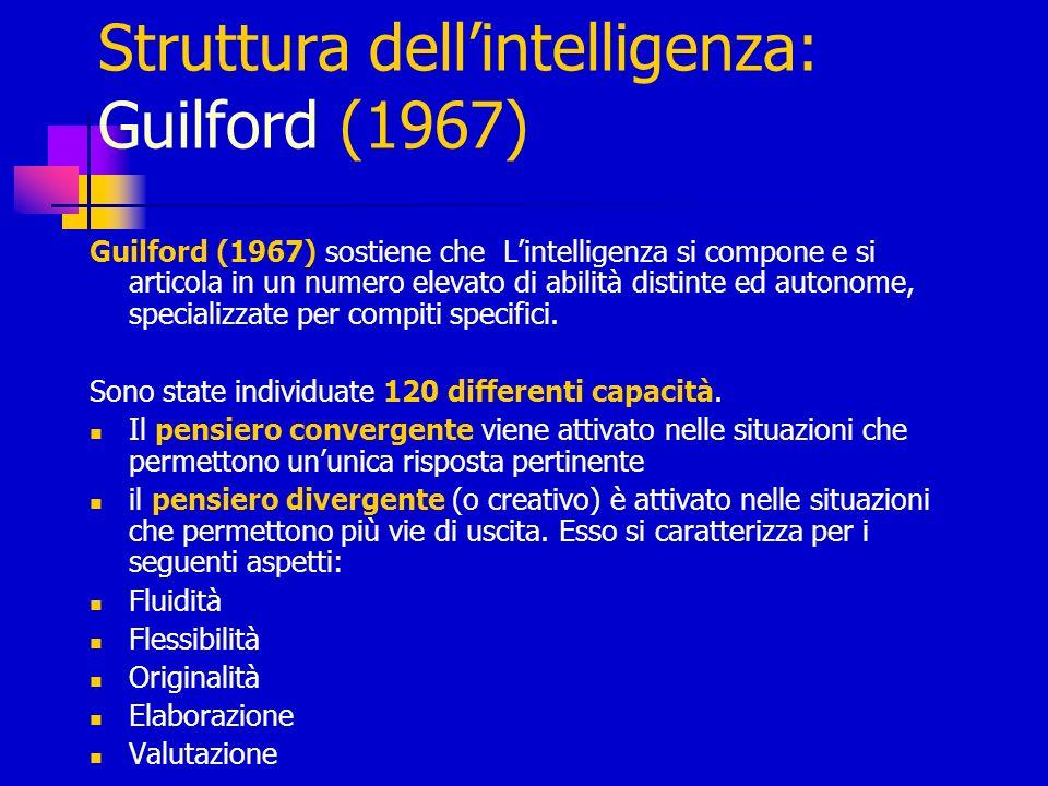 Struttura dellintelligenza: Guilford (1967) Guilford (1967) sostiene che Lintelligenza si compone e si articola in un numero elevato di abilità distin