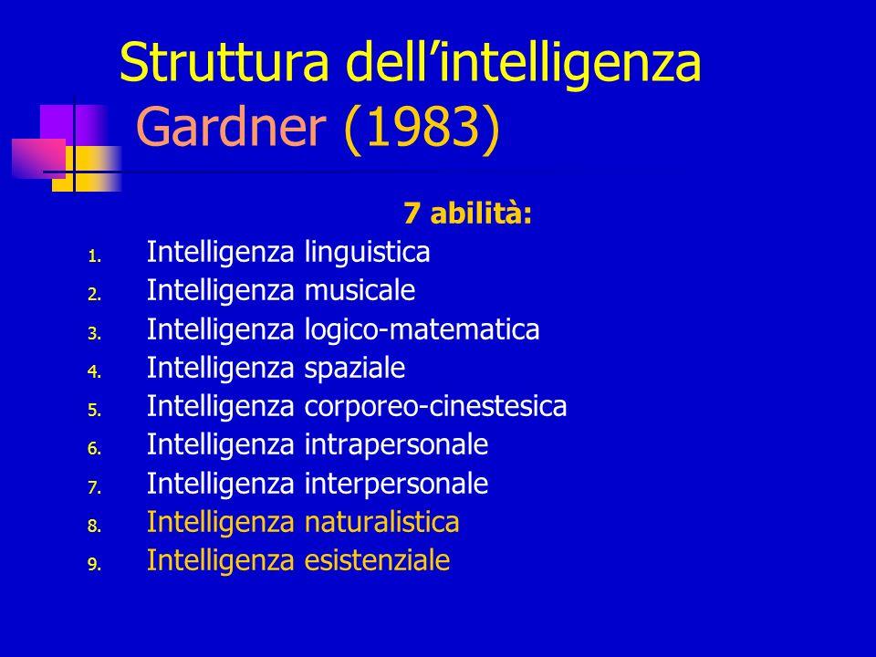 Struttura dellintelligenza Gardner (1983) 7 abilità: 1. Intelligenza linguistica 2. Intelligenza musicale 3. Intelligenza logico-matematica 4. Intelli
