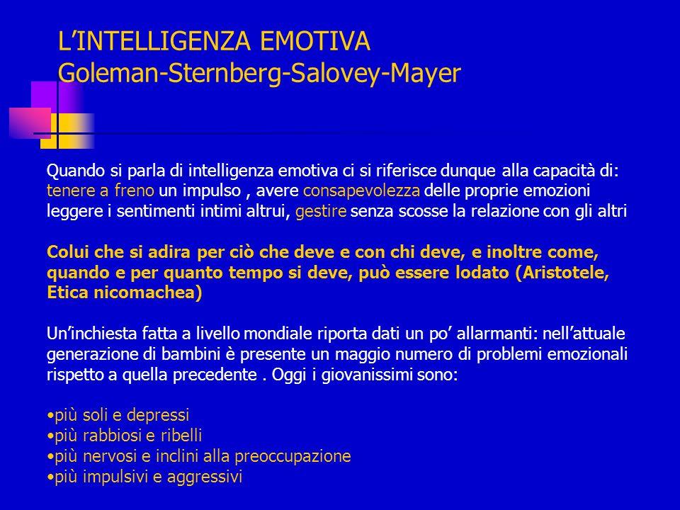 LINTELLIGENZA EMOTIVA Goleman-Sternberg-Salovey-Mayer Quando si parla di intelligenza emotiva ci si riferisce dunque alla capacità di: tenere a freno