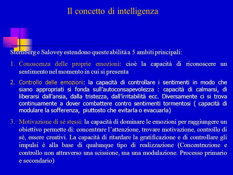 Il concetto di intelligenza Sternberg e Salovey estendono queste abilità a 5 ambiti principali: 1.Conoscenza delle proprie emozioni: cioè la capacità