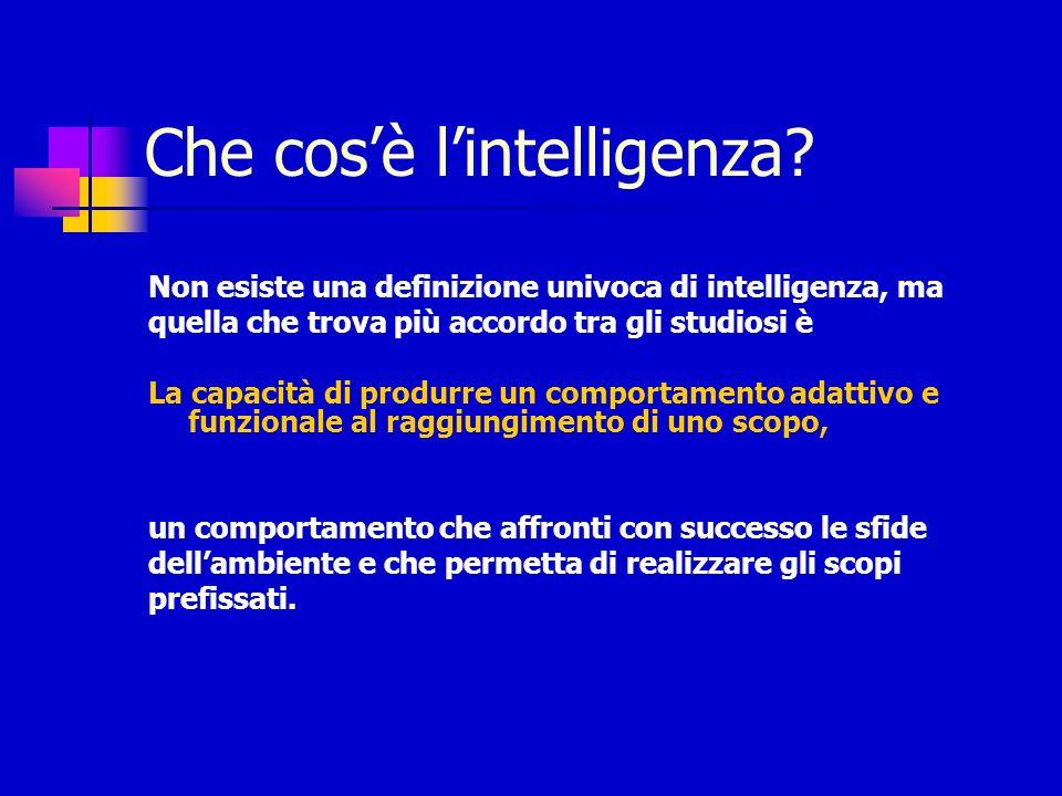 Non esiste una definizione univoca di intelligenza, ma quella che trova più accordo tra gli studiosi è La capacità di produrre un comportamento adatti