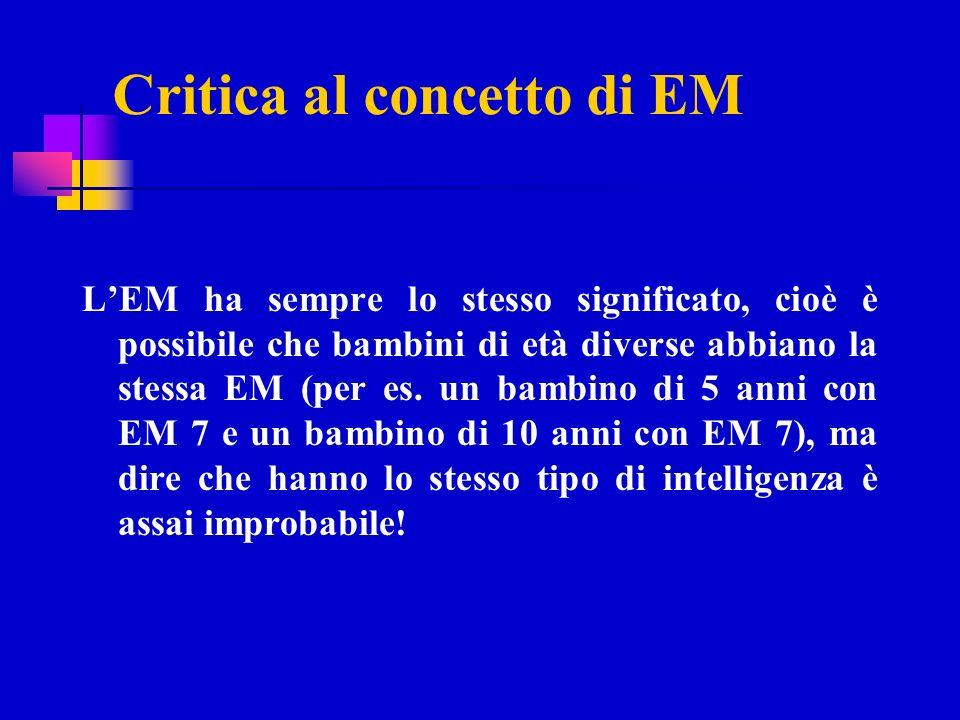 Critica al concetto di EM LEM ha sempre lo stesso significato, cioè è possibile che bambini di età diverse abbiano la stessa EM (per es. un bambino di