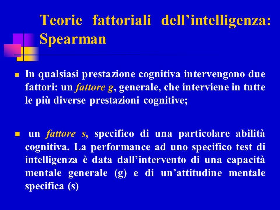 Struttura dellintelligenza: Spearman lintelligenza è una capacità generale, detta fattore g trasversale e comune a diverse abilità specifiche le abilità specifiche costituiscono i fattori secondari, fattori s,come abilità linguistica, spaziale, aritmetica Quanto maggiore è il valore di G tanto meglio lindividuo dovrebbe riuscire in un test di intelligenza.