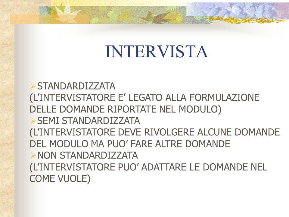 INTERVISTA STANDARDIZZATA (LINTERVISTATORE E LEGATO ALLA FORMULAZIONE DELLE DOMANDE RIPORTATE NEL MODULO) SEMI STANDARDIZZATA (LINTERVISTATORE DEVE RIVOLGERE ALCUNE DOMANDE DEL MODULO MA PUO FARE ALTRE DOMANDE NON STANDARDIZZATA (LINTERVISTATORE PUO ADATTARE LE DOMANDE NEL COME VUOLE)