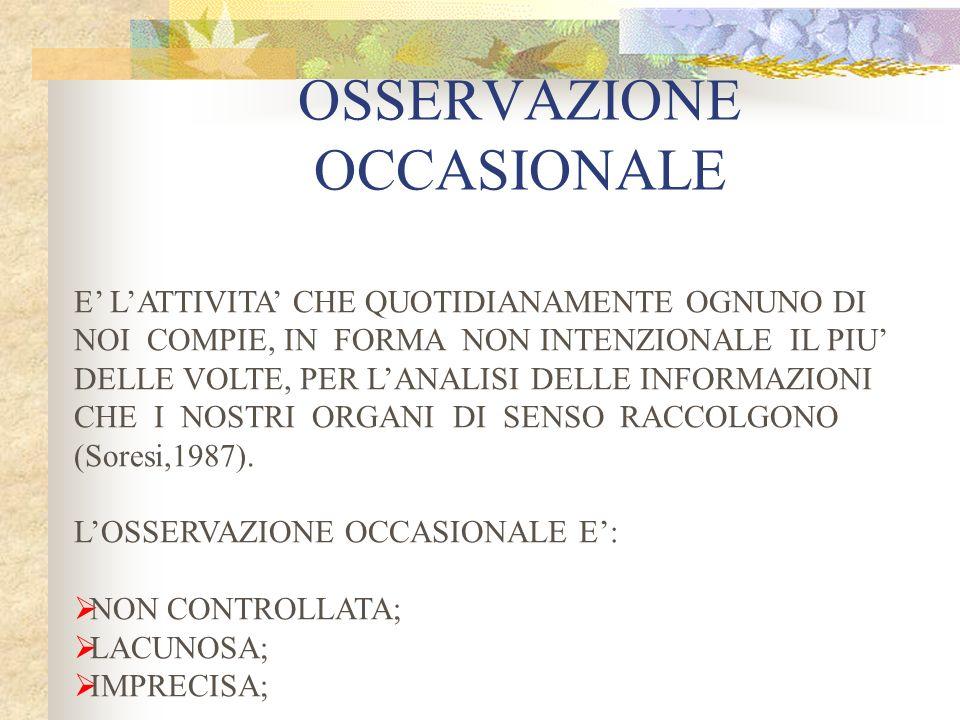 OSSERVAZIONE OCCASIONALE E LATTIVITA CHE QUOTIDIANAMENTE OGNUNO DI NOI COMPIE, IN FORMA NON INTENZIONALE IL PIU DELLE VOLTE, PER LANALISI DELLE INFORMAZIONI CHE I NOSTRI ORGANI DI SENSO RACCOLGONO (Soresi,1987).