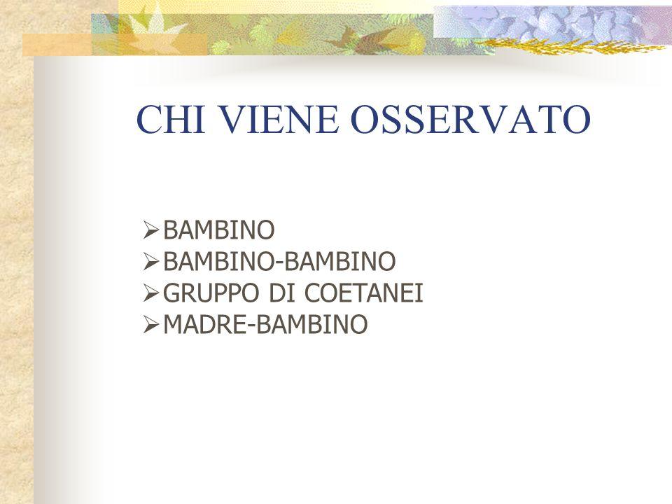 CHI VIENE OSSERVATO BAMBINO BAMBINO-BAMBINO GRUPPO DI COETANEI MADRE-BAMBINO
