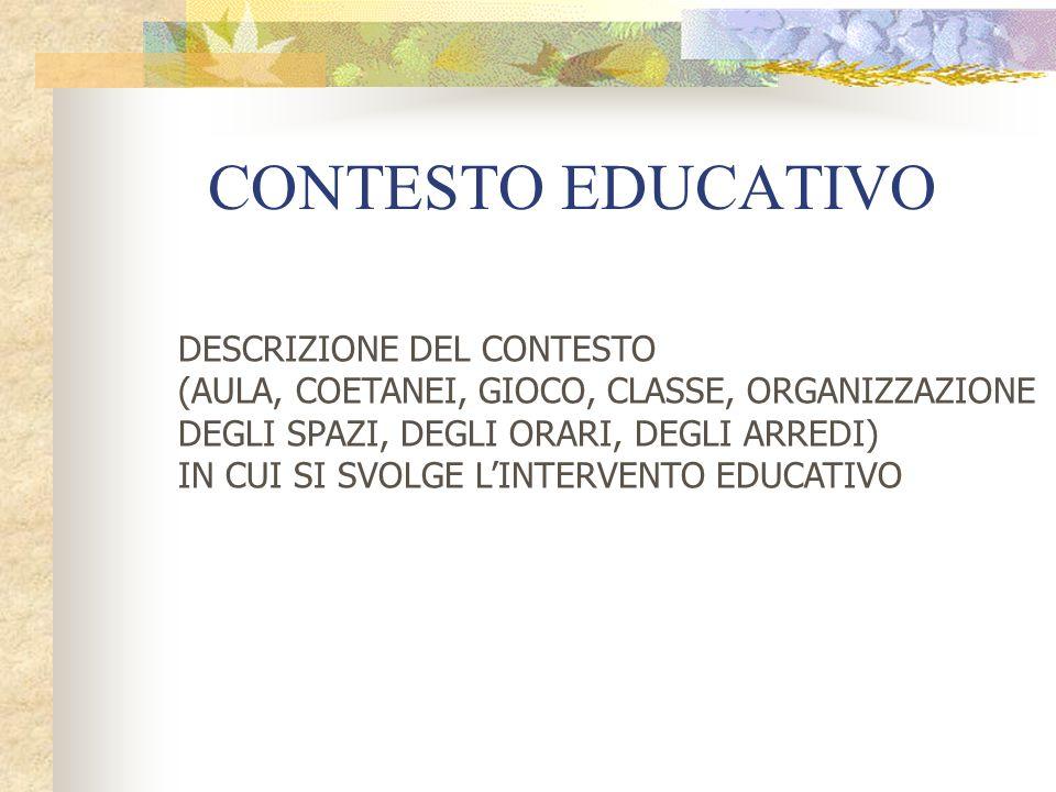 CONTESTO EDUCATIVO DESCRIZIONE DEL CONTESTO (AULA, COETANEI, GIOCO, CLASSE, ORGANIZZAZIONE DEGLI SPAZI, DEGLI ORARI, DEGLI ARREDI) IN CUI SI SVOLGE LINTERVENTO EDUCATIVO
