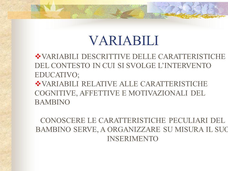 VARIABILI VARIABILI DESCRITTIVE DELLE CARATTERISTICHE DEL CONTESTO IN CUI SI SVOLGE LINTERVENTO EDUCATIVO; VARIABILI RELATIVE ALLE CARATTERISTICHE COG