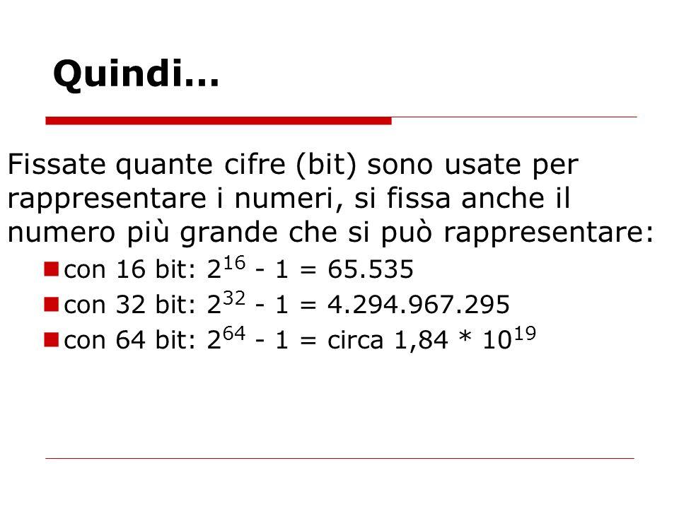 Quindi… Fissate quante cifre (bit) sono usate per rappresentare i numeri, si fissa anche il numero più grande che si può rappresentare: con 16 bit: 2
