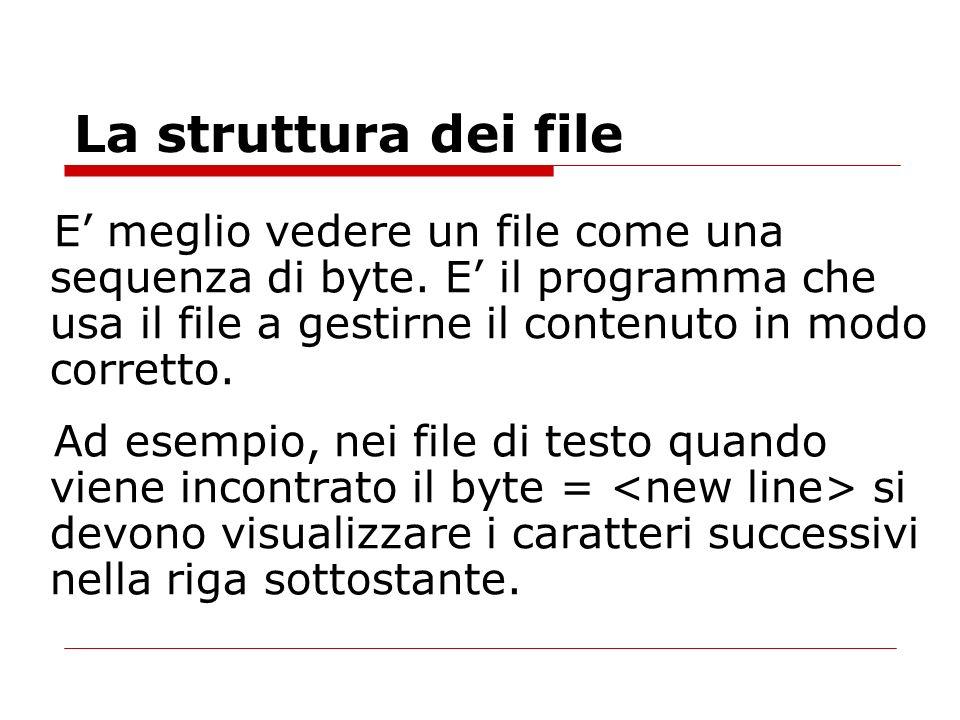 La struttura dei file E meglio vedere un file come una sequenza di byte. E il programma che usa il file a gestirne il contenuto in modo corretto. Ad e