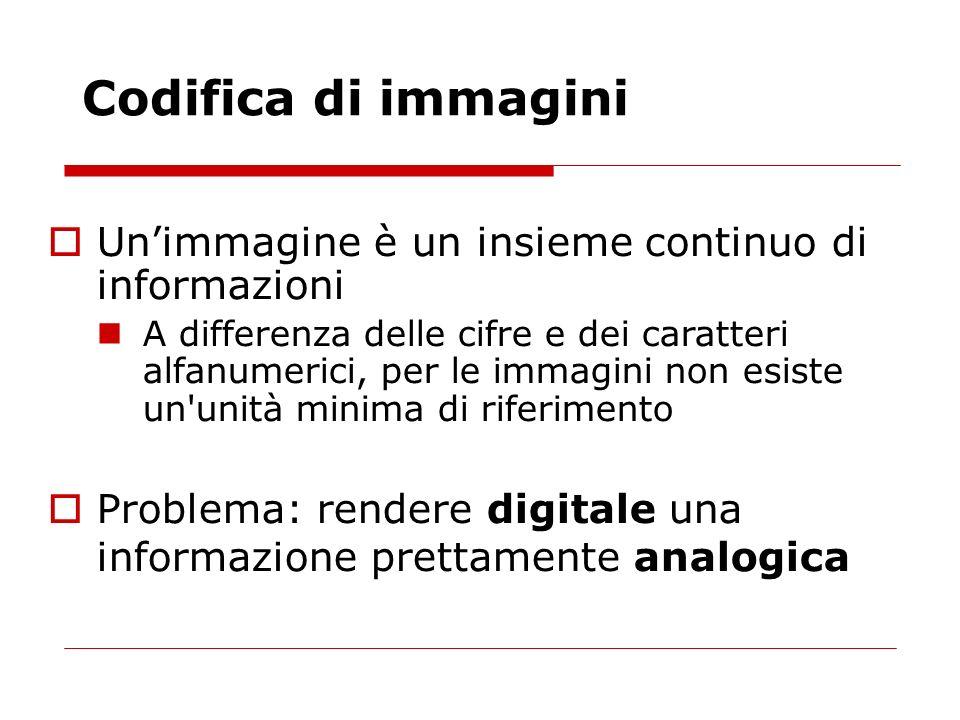 Unimmagine è un insieme continuo di informazioni A differenza delle cifre e dei caratteri alfanumerici, per le immagini non esiste un'unità minima di