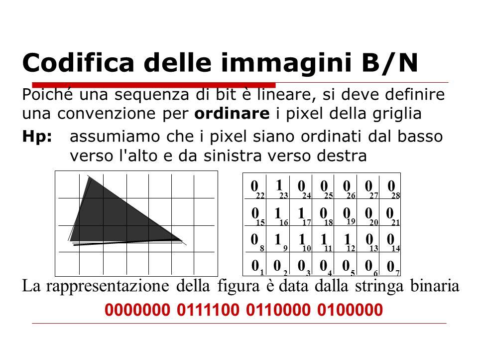 Poiché una sequenza di bit è lineare, si deve definire una convenzione per ordinare i pixel della griglia Hp: assumiamo che i pixel siano ordinati dal