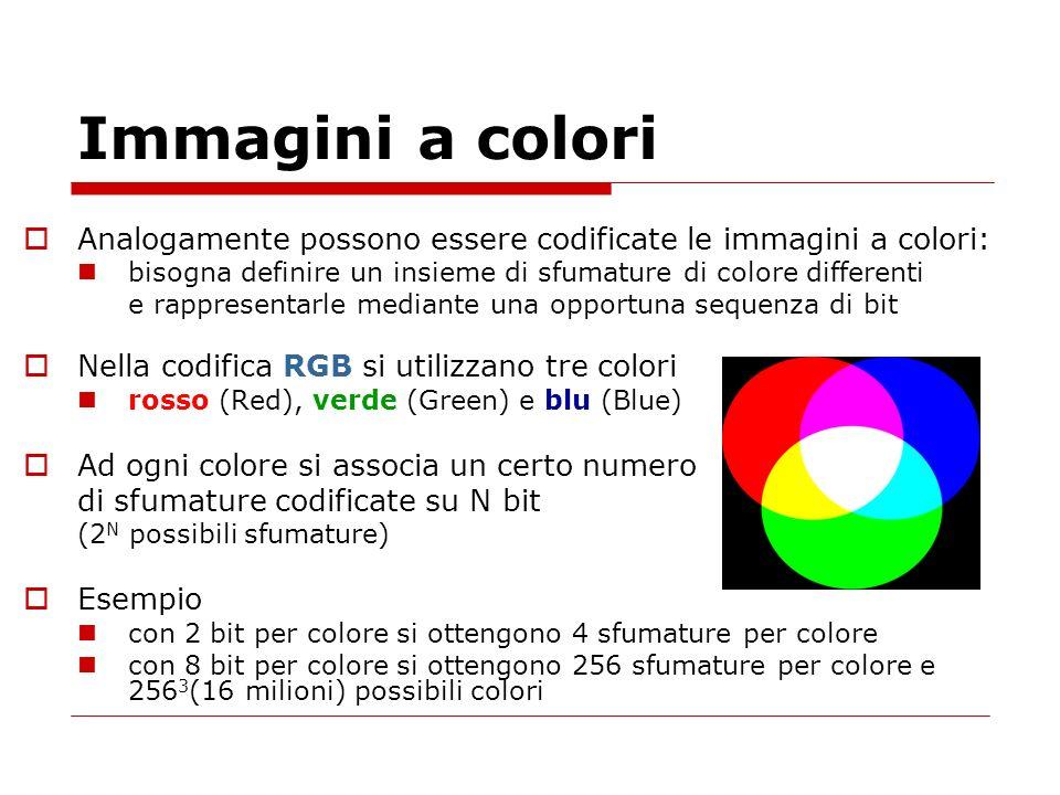 Immagini a colori Analogamente possono essere codificate le immagini a colori: bisogna definire un insieme di sfumature di colore differenti e rappres