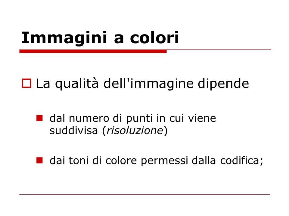 Immagini a colori La qualità dell'immagine dipende dal numero di punti in cui viene suddivisa (risoluzione) dai toni di colore permessi dalla codifica