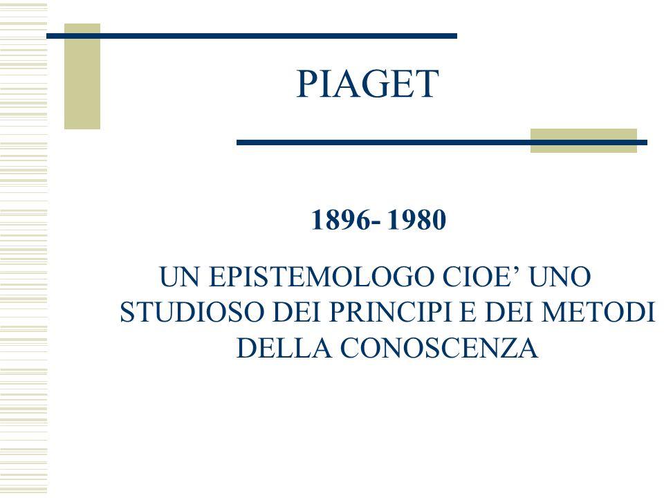 PIAGET 1896- 1980 UN EPISTEMOLOGO CIOE UNO STUDIOSO DEI PRINCIPI E DEI METODI DELLA CONOSCENZA
