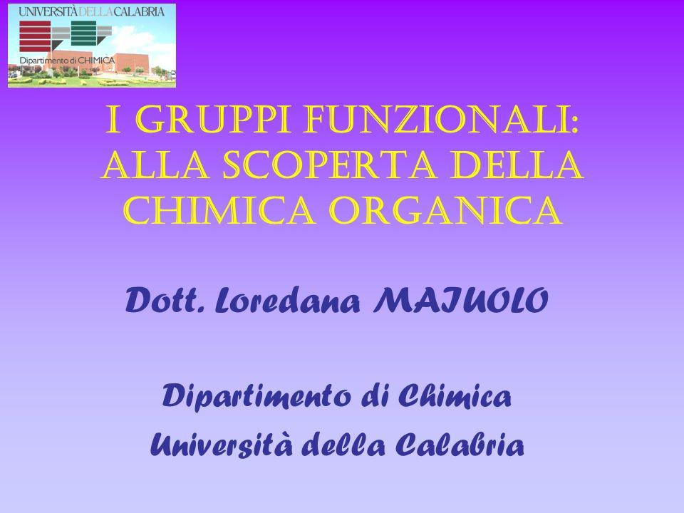 I gruppi funzionali: alla scoperta della chimica organica Dott. Loredana MAIUOLO Dipartimento di Chimica Università della Calabria