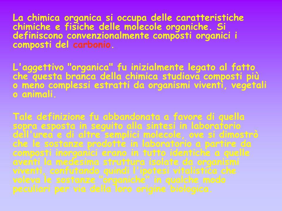 La chimica organica si occupa delle caratteristiche chimiche e fisiche delle molecole organiche. Si definiscono convenzionalmente composti organici i