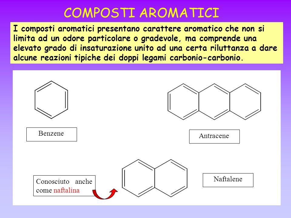 COMPOSTI AROMATICI I composti aromatici presentano carattere aromatico che non si limita ad un odore particolare o gradevole, ma comprende una elevato