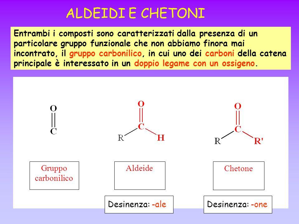 ALDEIDI E CHETONI Entrambi i composti sono caratterizzati dalla presenza di un particolare gruppo funzionale che non abbiamo finora mai incontrato, il