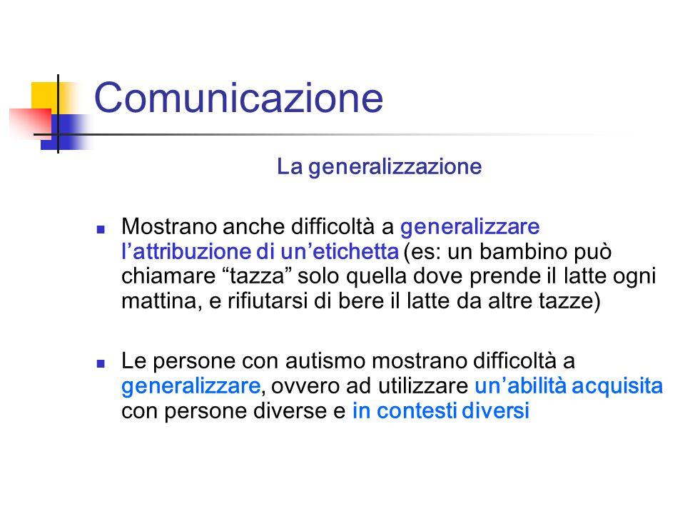 Comunicazione La generalizzazione Mostrano anche difficoltà a generalizzare lattribuzione di unetichetta (es: un bambino può chiamare tazza solo quell
