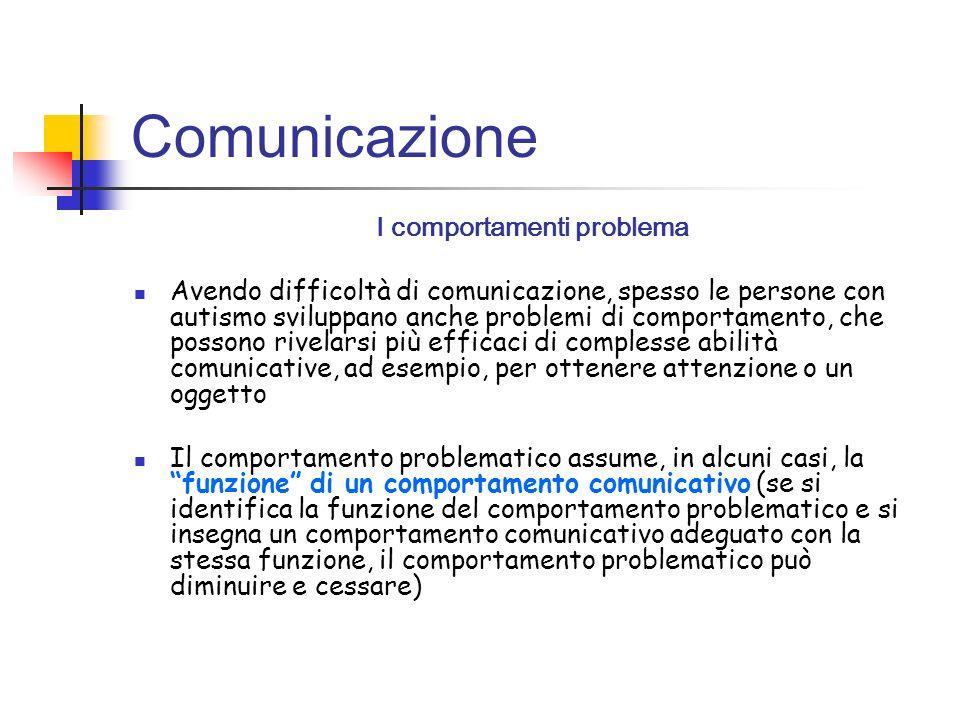 Comunicazione I comportamenti problema Avendo difficoltà di comunicazione, spesso le persone con autismo sviluppano anche problemi di comportamento, c