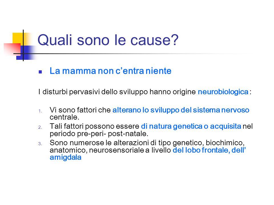 Quali sono le cause? La mamma non centra niente I disturbi pervasivi dello sviluppo hanno origine neurobiologica : 1. Vi sono fattori che alterano lo