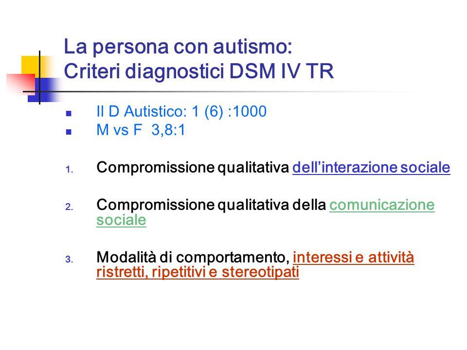 La persona con autismo: Criteri diagnostici DSM IV TR Il D Autistico: 1 (6) :1000 M vs F 3,8:1 1. Compromissione qualitativa dellinterazione sociale 2