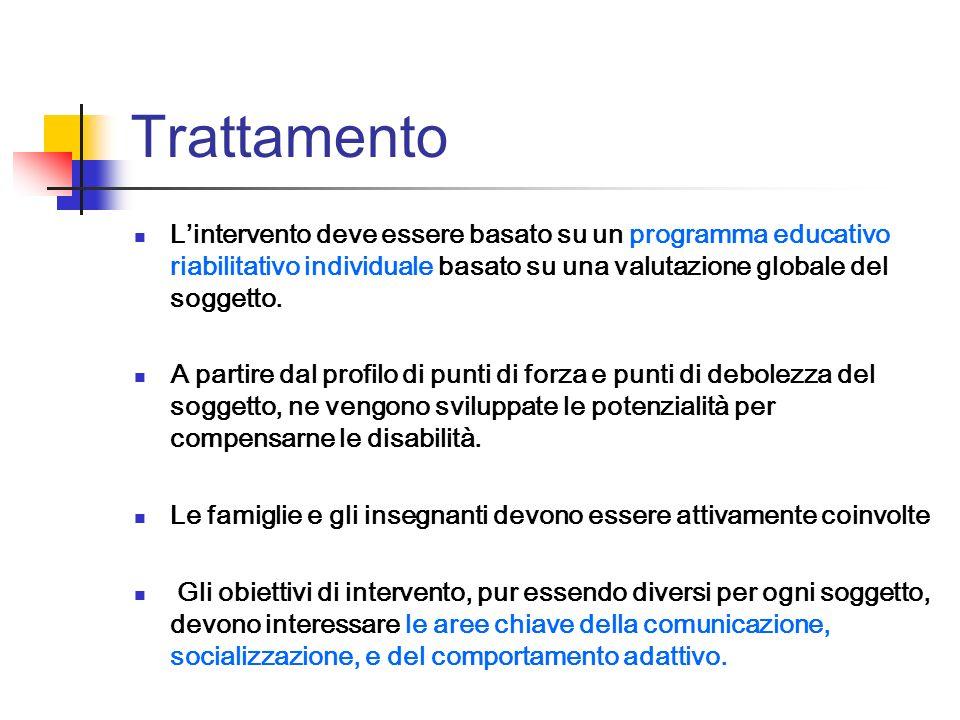 Trattamento Lintervento deve essere basato su un programma educativo riabilitativo individuale basato su una valutazione globale del soggetto. A parti