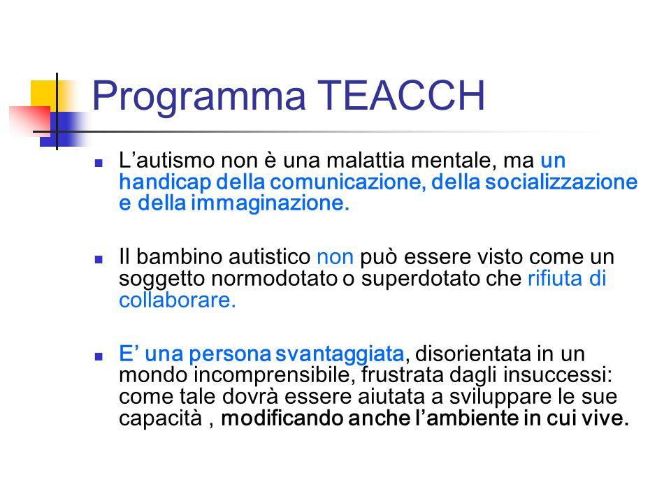 Programma TEACCH Lautismo non è una malattia mentale, ma un handicap della comunicazione, della socializzazione e della immaginazione. Il bambino auti