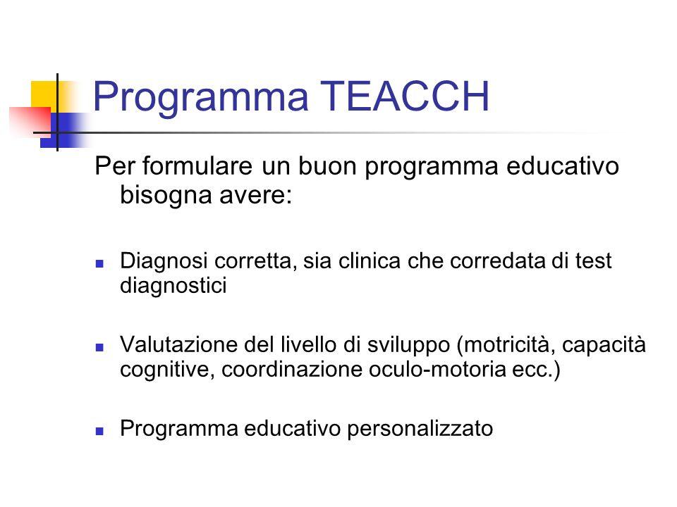 Programma TEACCH Per formulare un buon programma educativo bisogna avere: Diagnosi corretta, sia clinica che corredata di test diagnostici Valutazione